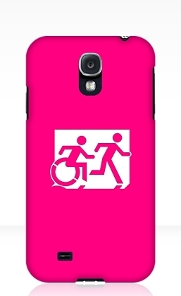 Accessible Means of Egress Icon Exit Sign Wheelchair Wheelie Running Man Symbol by Lee Wilson PWD Disability Emergency Evacuation Samsung Galaxy Case 16