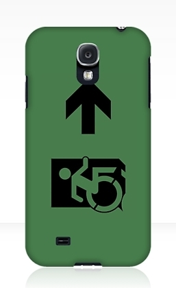 Accessible Means of Egress Icon Exit Sign Wheelchair Wheelie Running Man Symbol by Lee Wilson PWD Disability Emergency Evacuation Samsung Galaxy Case 17