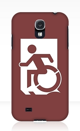 Accessible Means of Egress Icon Exit Sign Wheelchair Wheelie Running Man Symbol by Lee Wilson PWD Disability Emergency Evacuation Samsung Galaxy Case 18