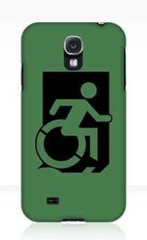 Accessible Means of Egress Icon Exit Sign Wheelchair Wheelie Running Man Symbol by Lee Wilson PWD Disability Emergency Evacuation Samsung Galaxy Case 2