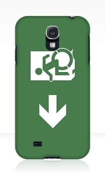 Accessible Means of Egress Icon Exit Sign Wheelchair Wheelie Running Man Symbol by Lee Wilson PWD Disability Emergency Evacuation Samsung Galaxy Case 22