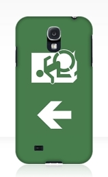 Accessible Means of Egress Icon Exit Sign Wheelchair Wheelie Running Man Symbol by Lee Wilson PWD Disability Emergency Evacuation Samsung Galaxy Case 23