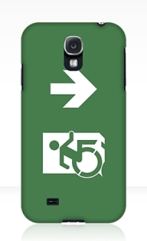 Accessible Means of Egress Icon Exit Sign Wheelchair Wheelie Running Man Symbol by Lee Wilson PWD Disability Emergency Evacuation Samsung Galaxy Case 25