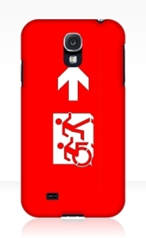Accessible Means of Egress Icon Exit Sign Wheelchair Wheelie Running Man Symbol by Lee Wilson PWD Disability Emergency Evacuation Samsung Galaxy Case 26