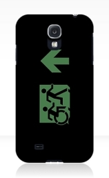 Accessible Means of Egress Icon Exit Sign Wheelchair Wheelie Running Man Symbol by Lee Wilson PWD Disability Emergency Evacuation Samsung Galaxy Case 27