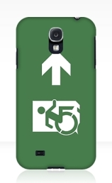 Accessible Means of Egress Icon Exit Sign Wheelchair Wheelie Running Man Symbol by Lee Wilson PWD Disability Emergency Evacuation Samsung Galaxy Case 28