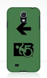 Accessible Means of Egress Icon Exit Sign Wheelchair Wheelie Running Man Symbol by Lee Wilson PWD Disability Emergency Evacuation Samsung Galaxy Case 29