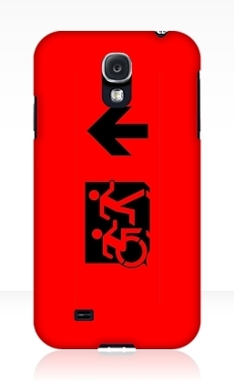 Accessible Means of Egress Icon Exit Sign Wheelchair Wheelie Running Man Symbol by Lee Wilson PWD Disability Emergency Evacuation Samsung Galaxy Case 30