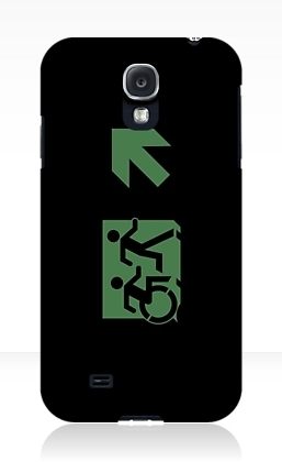 Accessible Means of Egress Icon Exit Sign Wheelchair Wheelie Running Man Symbol by Lee Wilson PWD Disability Emergency Evacuation Samsung Galaxy Case 3