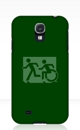 Accessible Means of Egress Icon Exit Sign Wheelchair Wheelie Running Man Symbol by Lee Wilson PWD Disability Emergency Evacuation Samsung Galaxy Case 31