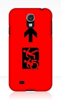 Accessible Means of Egress Icon Exit Sign Wheelchair Wheelie Running Man Symbol by Lee Wilson PWD Disability Emergency Evacuation Samsung Galaxy Case 32