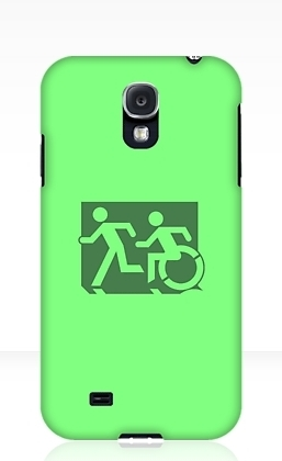 Accessible Means of Egress Icon Exit Sign Wheelchair Wheelie Running Man Symbol by Lee Wilson PWD Disability Emergency Evacuation Samsung Galaxy Case 33