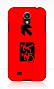 Accessible Means of Egress Icon Exit Sign Wheelchair Wheelie Running Man Symbol by Lee Wilson PWD Disability Emergency Evacuation Samsung Galaxy Case 34