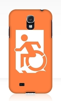 Accessible Means of Egress Icon Exit Sign Wheelchair Wheelie Running Man Symbol by Lee Wilson PWD Disability Emergency Evacuation Samsung Galaxy Case 35