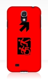 Accessible Means of Egress Icon Exit Sign Wheelchair Wheelie Running Man Symbol by Lee Wilson PWD Disability Emergency Evacuation Samsung Galaxy Case 36