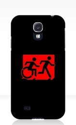 Accessible Means of Egress Icon Exit Sign Wheelchair Wheelie Running Man Symbol by Lee Wilson PWD Disability Emergency Evacuation Samsung Galaxy Case 37