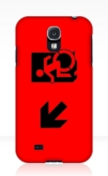 Accessible Means of Egress Icon Exit Sign Wheelchair Wheelie Running Man Symbol by Lee Wilson PWD Disability Emergency Evacuation Samsung Galaxy Case 38