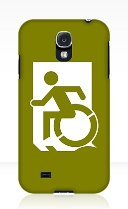 Accessible Means of Egress Icon Exit Sign Wheelchair Wheelie Running Man Symbol by Lee Wilson PWD Disability Emergency Evacuation Samsung Galaxy Case 39