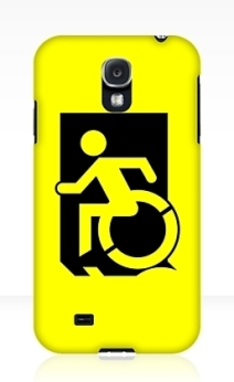Accessible Means of Egress Icon Exit Sign Wheelchair Wheelie Running Man Symbol by Lee Wilson PWD Disability Emergency Evacuation Samsung Galaxy Case 4