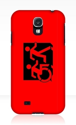 Accessible Means of Egress Icon Exit Sign Wheelchair Wheelie Running Man Symbol by Lee Wilson PWD Disability Emergency Evacuation Samsung Galaxy Case 40