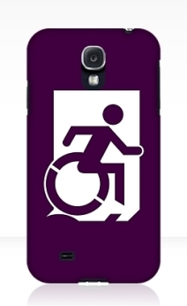 Accessible Means of Egress Icon Exit Sign Wheelchair Wheelie Running Man Symbol by Lee Wilson PWD Disability Emergency Evacuation Samsung Galaxy Case 41