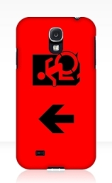 Accessible Means of Egress Icon Exit Sign Wheelchair Wheelie Running Man Symbol by Lee Wilson PWD Disability Emergency Evacuation Samsung Galaxy Case 42