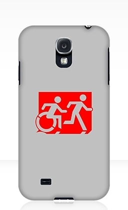Accessible Means of Egress Icon Exit Sign Wheelchair Wheelie Running Man Symbol by Lee Wilson PWD Disability Emergency Evacuation Samsung Galaxy Case 43