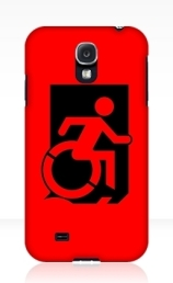 Accessible Means of Egress Icon Exit Sign Wheelchair Wheelie Running Man Symbol by Lee Wilson PWD Disability Emergency Evacuation Samsung Galaxy Case 44