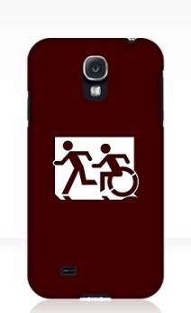 Accessible Means of Egress Icon Exit Sign Wheelchair Wheelie Running Man Symbol by Lee Wilson PWD Disability Emergency Evacuation Samsung Galaxy Case 45