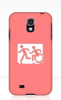 Accessible Means of Egress Icon Exit Sign Wheelchair Wheelie Running Man Symbol by Lee Wilson PWD Disability Emergency Evacuation Samsung Galaxy Case 47
