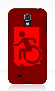 Accessible Means of Egress Icon Exit Sign Wheelchair Wheelie Running Man Symbol by Lee Wilson PWD Disability Emergency Evacuation Samsung Galaxy Case 48