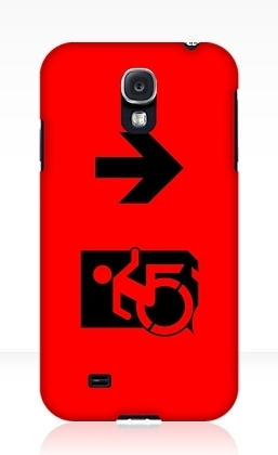 Accessible Means of Egress Icon Exit Sign Wheelchair Wheelie Running Man Symbol by Lee Wilson PWD Disability Emergency Evacuation Samsung Galaxy Case 49