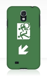 Accessible Means of Egress Icon Exit Sign Wheelchair Wheelie Running Man Symbol by Lee Wilson PWD Disability Emergency Evacuation Samsung Galaxy Case 5
