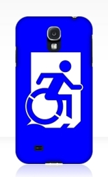 Accessible Means of Egress Icon Exit Sign Wheelchair Wheelie Running Man Symbol by Lee Wilson PWD Disability Emergency Evacuation Samsung Galaxy Case 52