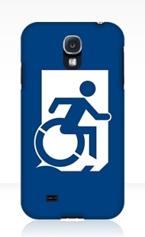 Accessible Means of Egress Icon Exit Sign Wheelchair Wheelie Running Man Symbol by Lee Wilson PWD Disability Emergency Evacuation Samsung Galaxy Case 54