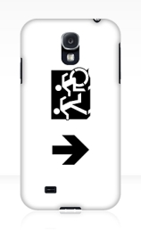 Accessible Means of Egress Icon Exit Sign Wheelchair Wheelie Running Man Symbol by Lee Wilson PWD Disability Emergency Evacuation Samsung Galaxy Case 55