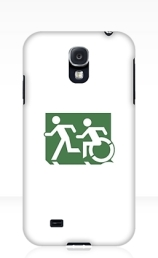 Accessible Means of Egress Icon Exit Sign Wheelchair Wheelie Running Man Symbol by Lee Wilson PWD Disability Emergency Evacuation Samsung Galaxy Case 56