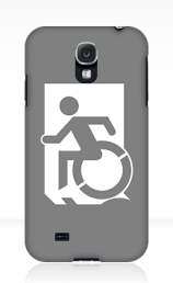 Accessible Means of Egress Icon Exit Sign Wheelchair Wheelie Running Man Symbol by Lee Wilson PWD Disability Emergency Evacuation Samsung Galaxy Case 58
