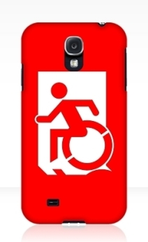 Accessible Means of Egress Icon Exit Sign Wheelchair Wheelie Running Man Symbol by Lee Wilson PWD Disability Emergency Evacuation Samsung Galaxy Case 6