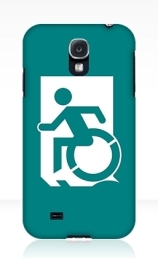 Accessible Means of Egress Icon Exit Sign Wheelchair Wheelie Running Man Symbol by Lee Wilson PWD Disability Emergency Evacuation Samsung Galaxy Case 60