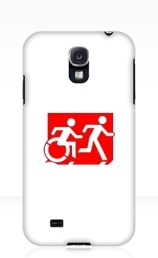 Accessible Means of Egress Icon Exit Sign Wheelchair Wheelie Running Man Symbol by Lee Wilson PWD Disability Emergency Evacuation Samsung Galaxy Case 62