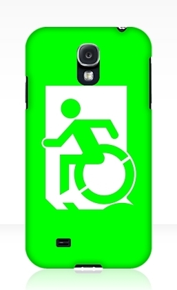 Accessible Means of Egress Icon Exit Sign Wheelchair Wheelie Running Man Symbol by Lee Wilson PWD Disability Emergency Evacuation Samsung Galaxy Case 64
