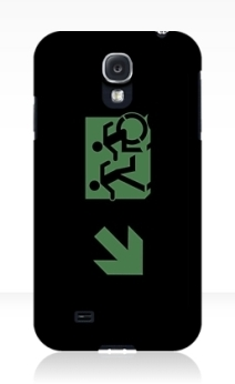 Accessible Means of Egress Icon Exit Sign Wheelchair Wheelie Running Man Symbol by Lee Wilson PWD Disability Emergency Evacuation Samsung Galaxy Case 65