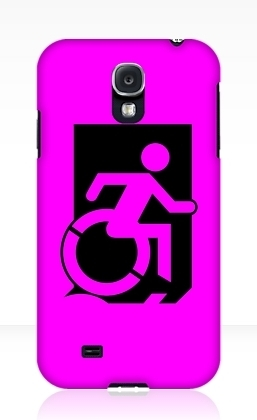 Accessible Means of Egress Icon Exit Sign Wheelchair Wheelie Running Man Symbol by Lee Wilson PWD Disability Emergency Evacuation Samsung Galaxy Case 67