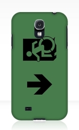 Accessible Means of Egress Icon Exit Sign Wheelchair Wheelie Running Man Symbol by Lee Wilson PWD Disability Emergency Evacuation Samsung Galaxy Case 68