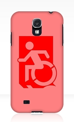 Accessible Means of Egress Icon Exit Sign Wheelchair Wheelie Running Man Symbol by Lee Wilson PWD Disability Emergency Evacuation Samsung Galaxy Case 69