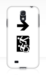 Accessible Means of Egress Icon Exit Sign Wheelchair Wheelie Running Man Symbol by Lee Wilson PWD Disability Emergency Evacuation Samsung Galaxy Case 70