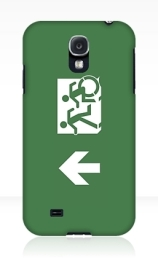 Accessible Means of Egress Icon Exit Sign Wheelchair Wheelie Running Man Symbol by Lee Wilson PWD Disability Emergency Evacuation Samsung Galaxy Case 7