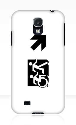 Accessible Means of Egress Icon Exit Sign Wheelchair Wheelie Running Man Symbol by Lee Wilson PWD Disability Emergency Evacuation Samsung Galaxy Case 71