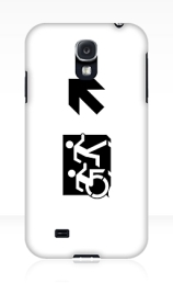 Accessible Means of Egress Icon Exit Sign Wheelchair Wheelie Running Man Symbol by Lee Wilson PWD Disability Emergency Evacuation Samsung Galaxy Case 72